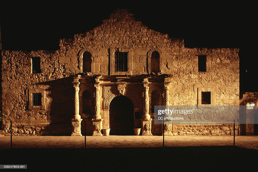 Facade of old building at night, The Alamo, San Antonio, Texas, USA