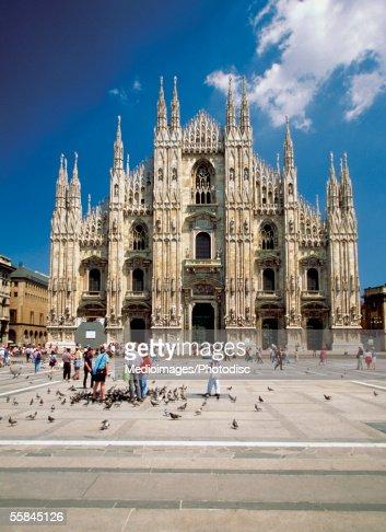 Facade of Piazza del Duomo, Milan, Italy