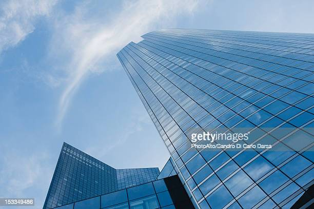 Facade of skyscrapers against sky, low angle view