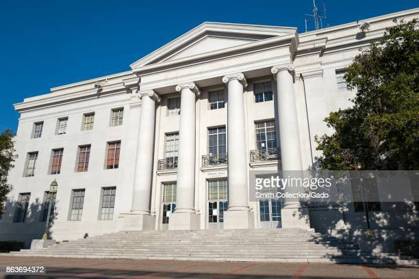 Facade of Sproul Hall the administrative building at UC Berkeley in Berkeley California which is known for being the epicenter of a variety of...