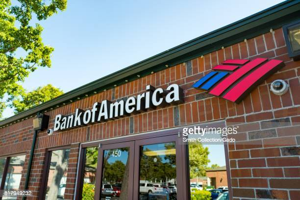 Facade of the Bank of America branch in San Ramon California with signage and logo visible July 11 2017