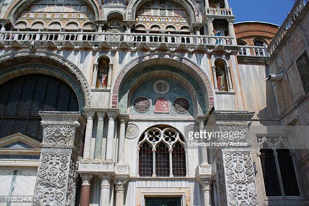 Facade of the Cathedral Basilica of Saint Mark Venice Italy An outstanding example of Byzantine architecture The basilica was consecrated in 1094 the...