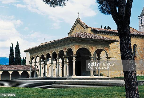 Facade of the Church of St Mary of Grace 15th century late Gothic style Arezzo Tuscany Italy