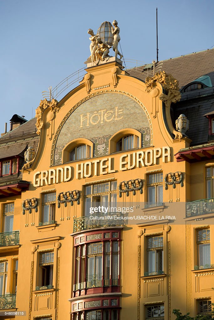 facade of the grand hotel europa in wenceslas square prague czech republic stock photo getty. Black Bedroom Furniture Sets. Home Design Ideas