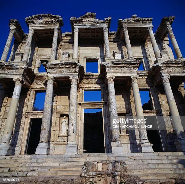 Facade of the Library of Celsus 110135 AD built in commemoration of Tiberius Julius Celsus Polemaeanus Ephesus Turkey Roman Civilisation 2nd century...