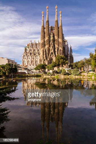 Facade of the Sagrada Familia in Barcelona at night