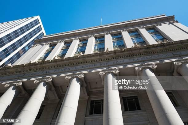 Facade of the San Francisco Federal Reserve Bank in the Financial District neighborhood of San Francisco California September 26 2016