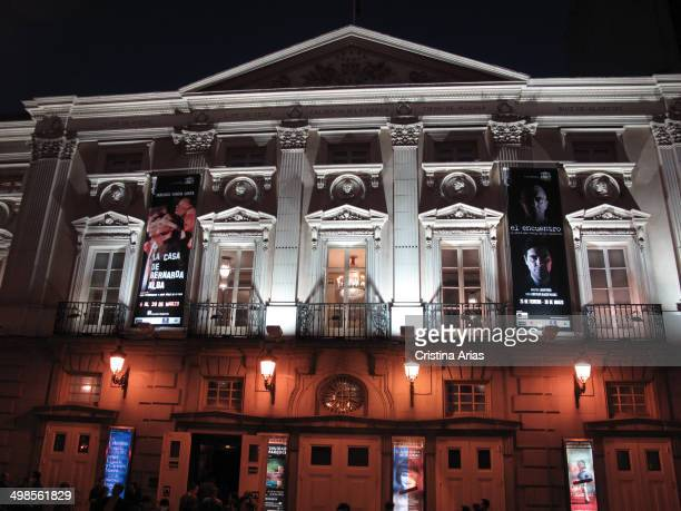 Facade of the Spanish Theatre In Madrid illuminated at night Spain 15th March 2014