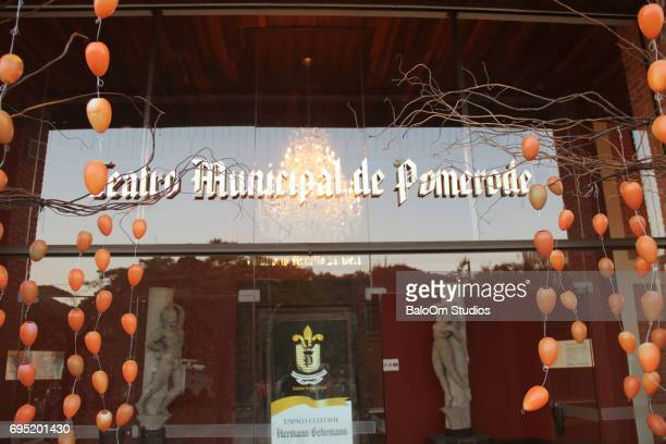 Facade of the Teatro Municipal de Pomerode Decorated for the Osterfest
