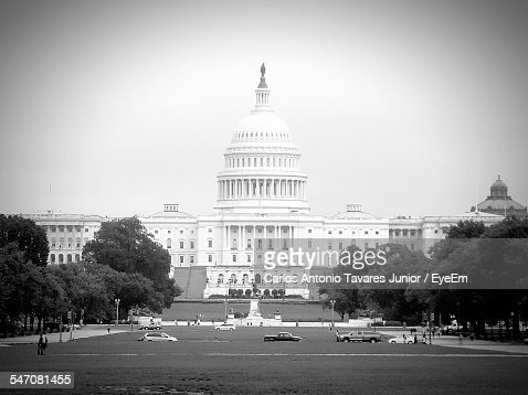 Facade Of United States Capitol Against Clear Sky