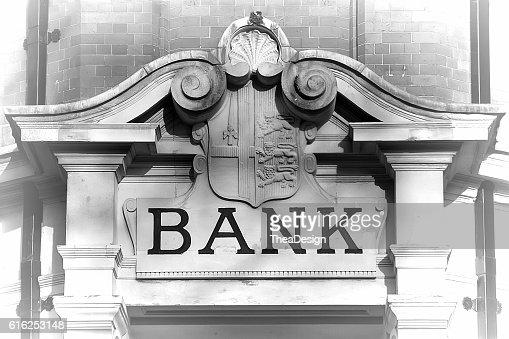 Facade with Bank inscription : Foto de stock