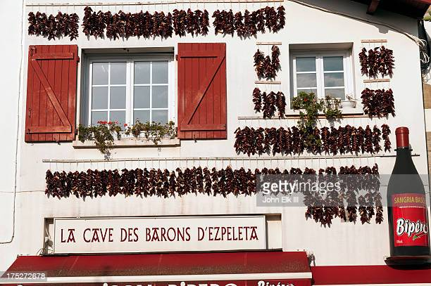 Facade with drying Basque chilis