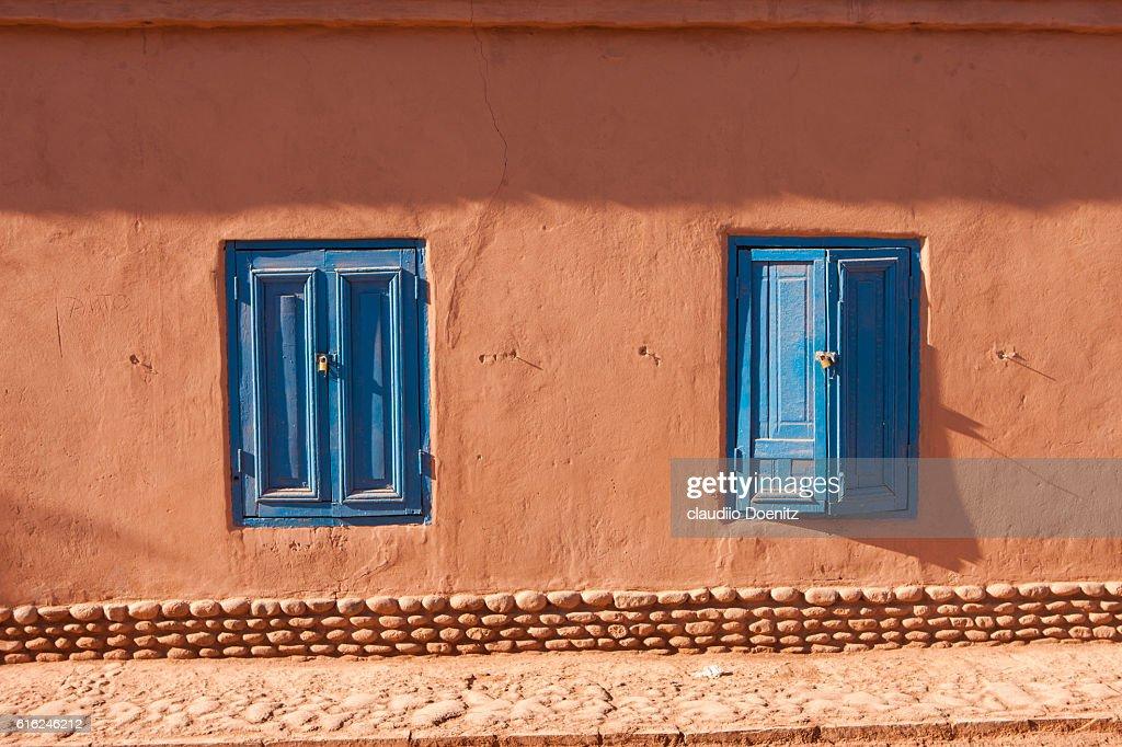 facades of houses in San Pedro de Atacama : Stock Photo