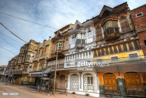 Facades of old houses in Sidhpur, Gujarat, India