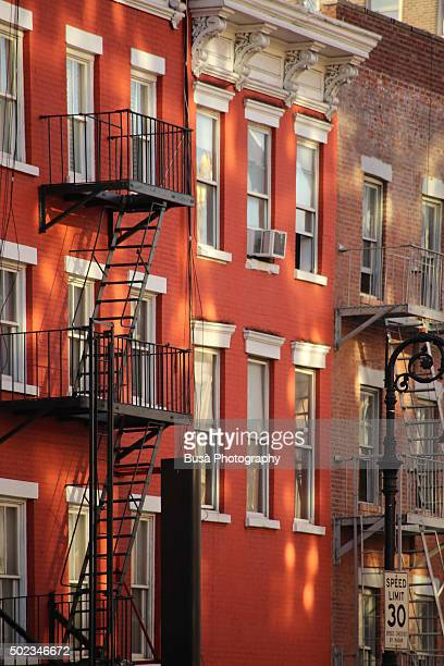 Facades of typical houses in the West Village, Manhattan, New York City