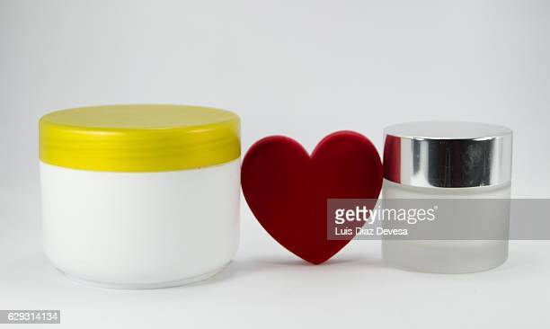 Face cream and red heart