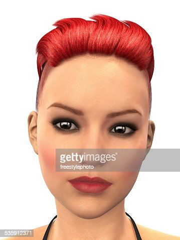Face of a beautiful redhead girl - 3D rendering : Stock Photo