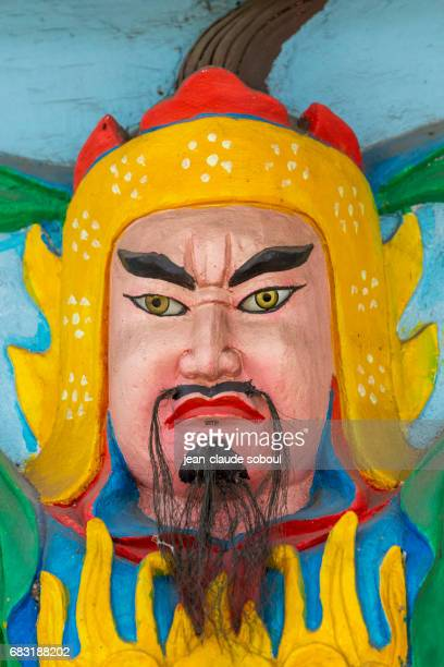 Face of a Buddhist temple guardian, in Halong district (vietnam)