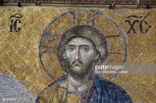 Face of Christ detail from the Deesis or Deisis mosaic in the south gallery of the Hagia Sophia Istanbul Turkey 13th century