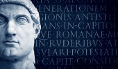 """""""Face of the Emperor Constantine in the hall of Capitoline Museum, Rome, Italy, Dated around 313-324 AD. I mounted it on a latin script background. ROME S.P.Q.R. Lightbox:"""""""