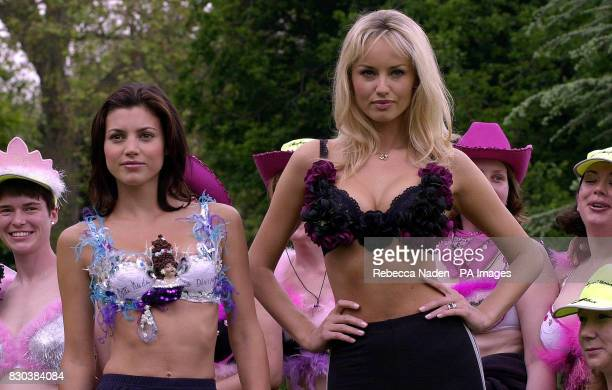 'Face of Wonderbra' Adriana Sklenarikova and the 'Face of Wonderbra Bliss' Michelle Ray with 'Moonwalkers' during the launch of the Playtex Moonwalk...