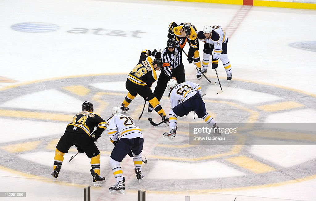 Face off of the Boston Bruins against the Buffalo Sabres at the TD Garden on April 7, 2012 in Boston, Massachusetts.