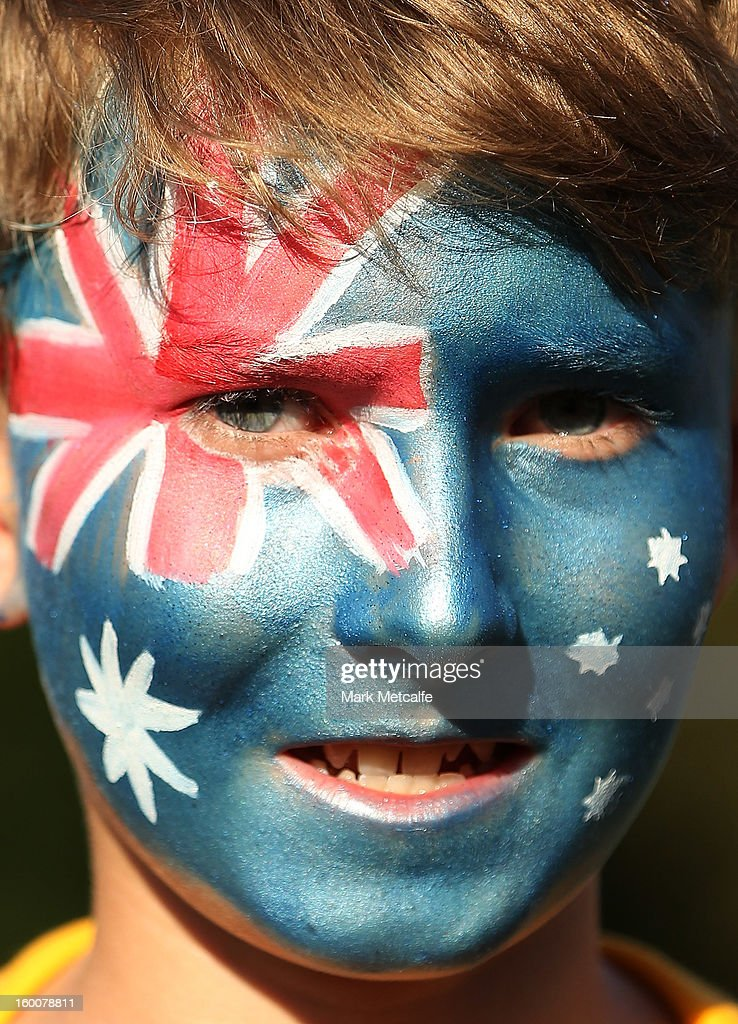 A face painted fan shows their Australian pride on Australia Day prior to game one of the Twenty20 international match between Australia and Sri Lanka at ANZ Stadium on January 26, 2013 in Sydney, Australia.