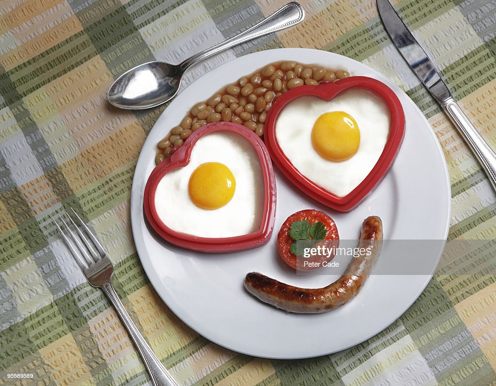 face shaped breakfast on plate : Stock Photo