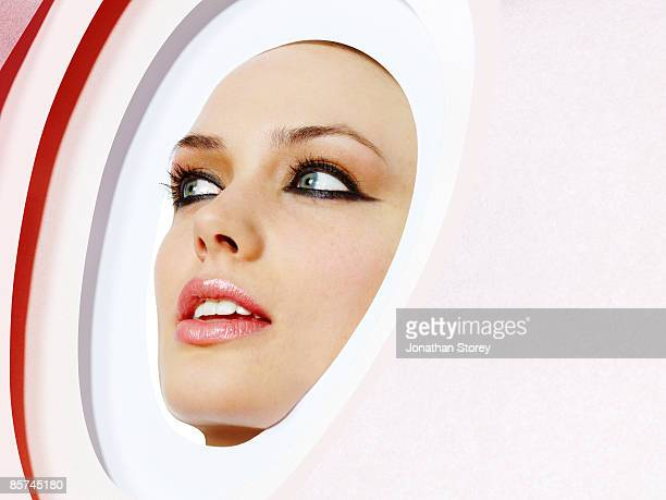 Face through cutout card