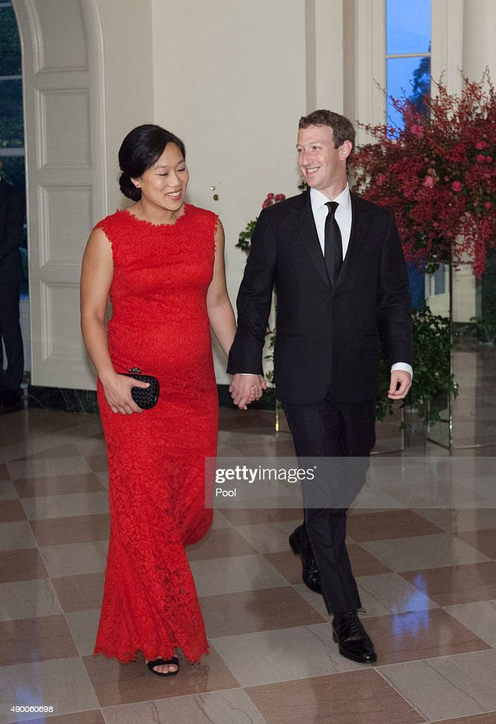 Facebook CEO Mark Zuckerberg and Dr. Priscilla Chan arrive for a state dinner in honor of Chinese President President Xi Jinping and his wife Peng Liyuan at the White House September 25, 2015in Washington, DC. Xi arrived in Washington, the second stop of his state visit to the United States, on Thursday after a busy two-and-a-half-day stay in Seattle.