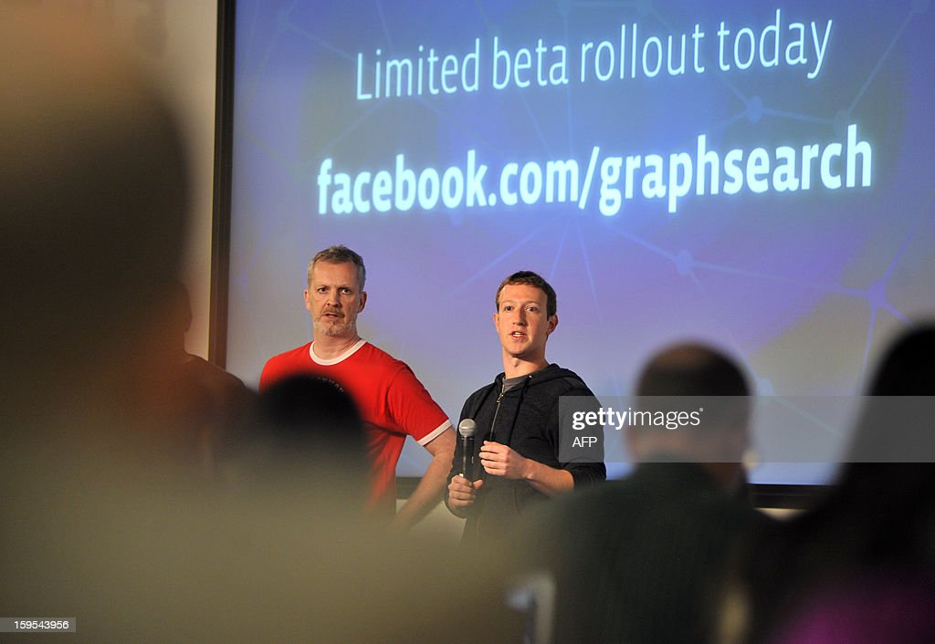 Facebook CEO Mark Zuckerberg and Engineer Lars Rasmussen answer questions at an event at Facebook's Headquarters office in Menlo Park, California on January 15, 2012. Today, Facebook announced the limited beta release of Graph Search, a feature that will create a new way for people to navigate connections. AFP Photo Josh Edelson