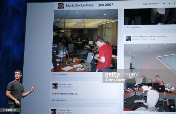 Facebook CEO Mark Zuckerberg announces Timeline as he delivers a keynote address during the Facebook f8 conference on September 22 2011 in San...