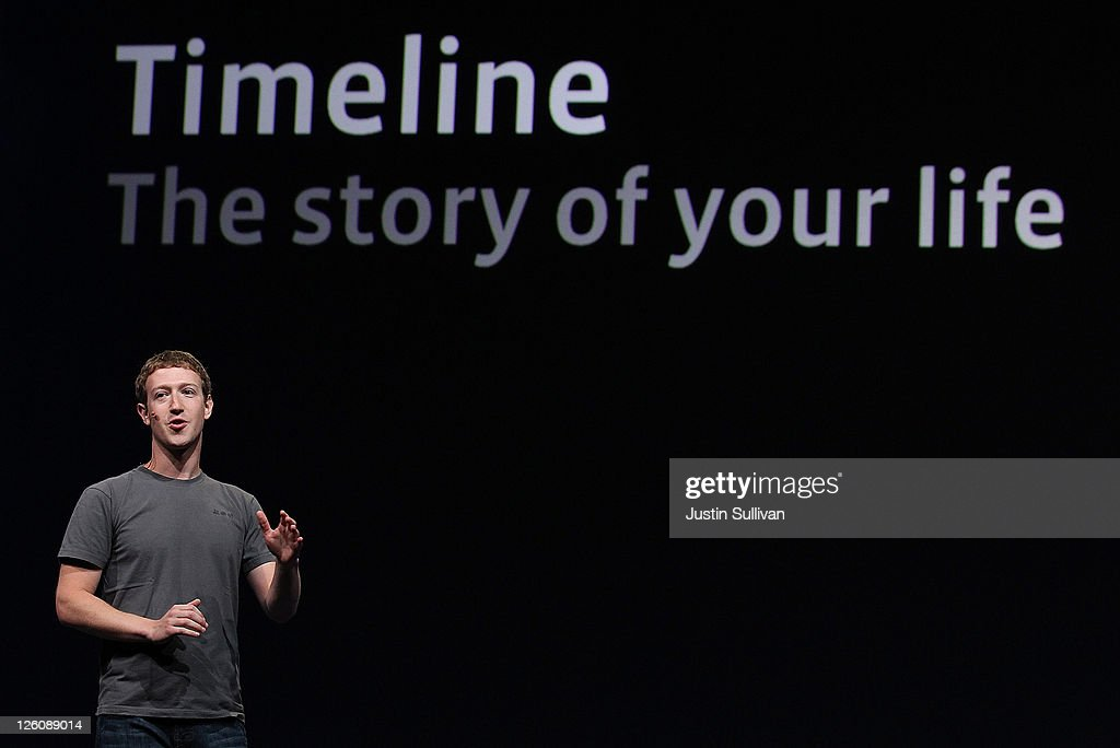 Facebook CEO Mark Zuckerberg delivers a keynote address during the Facebook f8 conference on September 22, 2011 in San Francisco, California. Facebook CEO Mark Zuckerberg kicked off the conference introducing a Timeline feature to the popular social network.