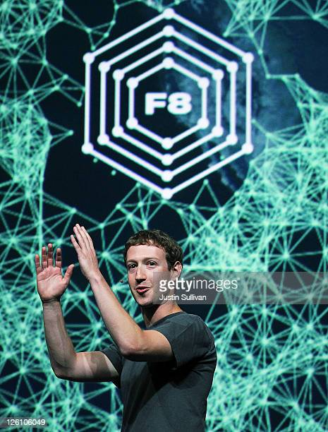 Facebook CEO Mark Zuckerberg delivers a keynote address during the Facebook f8 conference on September 22 2011 in San Francisco California Facebook...