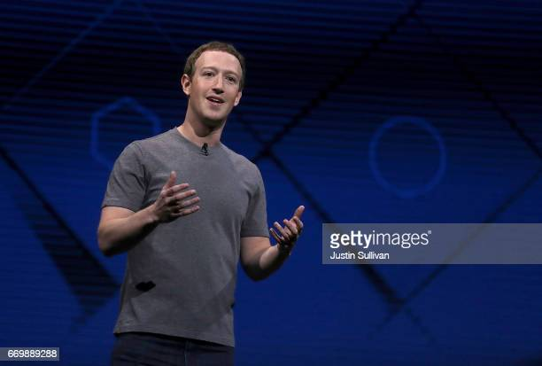 Facebook CEO Mark Zuckerberg delivers the keynote address at Facebook's F8 Developer Conference on April 18 2017 at McEnery Convention Center in San...