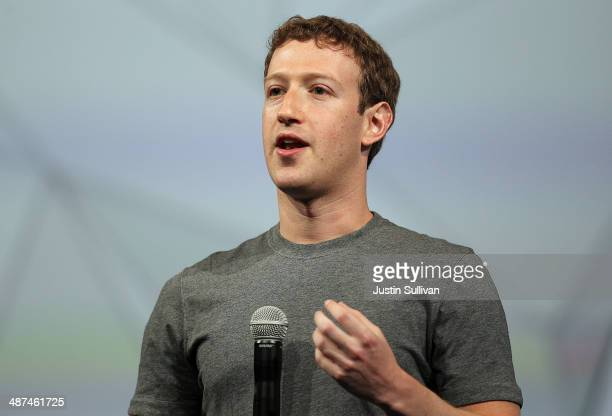 Facebook CEO Mark Zuckerberg delivers the opening kenote at the Facebook f8 conference on April 30 2014 in San Francisco California Facebook CEO Mark...