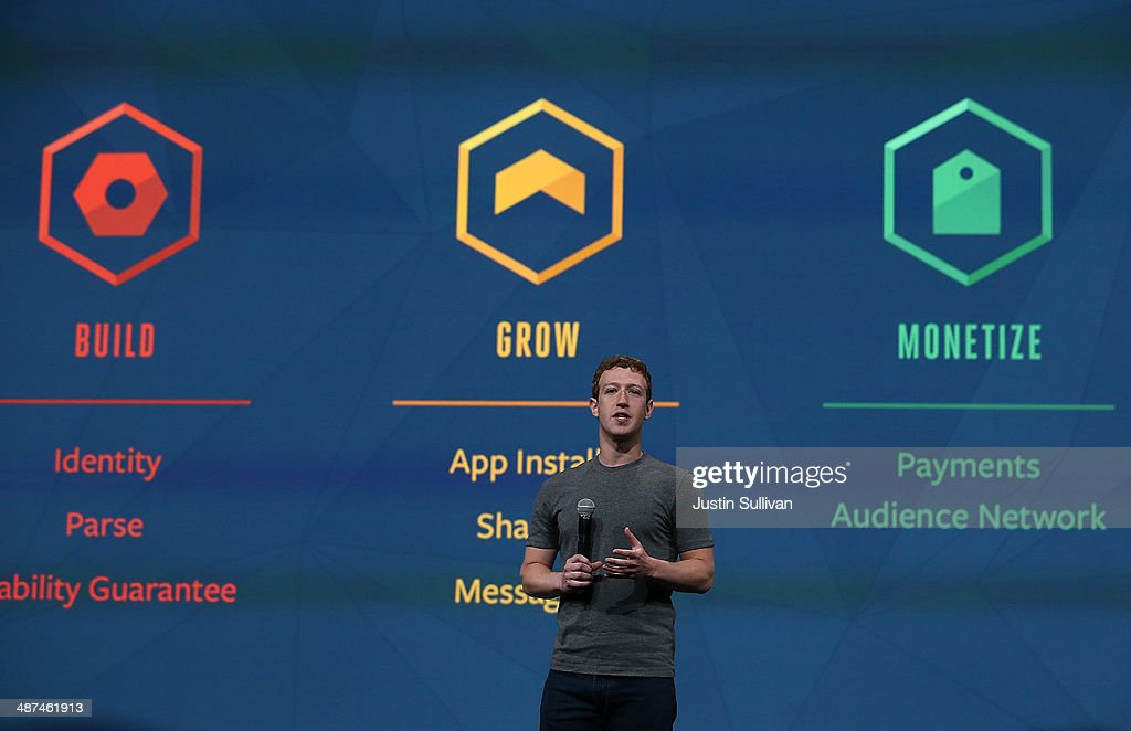 Facebook CEO <a gi-track='captionPersonalityLinkClicked' href=/galleries/search?phrase=Mark+Zuckerberg&family=editorial&specificpeople=4841191 ng-click='$event.stopPropagation()'>Mark Zuckerberg</a> delivers the opening kenote at the Facebook f8 conference on April 30, 2014 in San Francisco, California. Facebook CEO <a gi-track='captionPersonalityLinkClicked' href=/galleries/search?phrase=Mark+Zuckerberg&family=editorial&specificpeople=4841191 ng-click='$event.stopPropagation()'>Mark Zuckerberg</a> kicked off the annual one-day F8 developers conference.