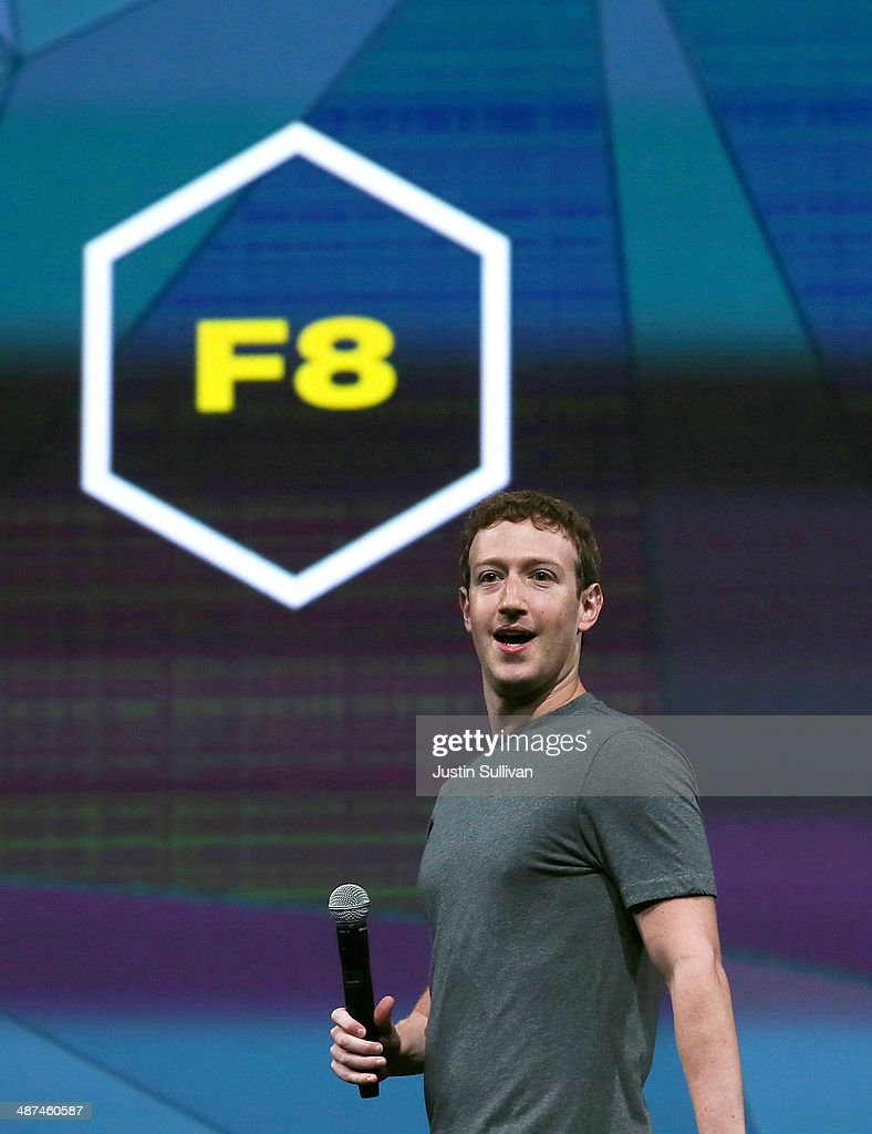 Facebook CEO <a gi-track='captionPersonalityLinkClicked' href=/galleries/search?phrase=Mark+Zuckerberg&family=editorial&specificpeople=4841191 ng-click='$event.stopPropagation()'>Mark Zuckerberg</a> delivers the opening keynote at the Facebook f8 conference on April 30, 2014 in San Francisco, California. Facebook is hosting the one-day developers conference for the first time since 2011 and over 1500 developers are expected to attend.