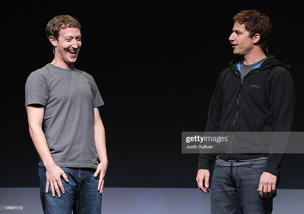 Facebook CEO Mark Zuckerberg (L) jokes with comedian Andy Samberg during a keynote address during the Facebook f8 conference on September 22, 2011 in San Francisco, California. Facebook CEO Mark Zuckerberg kicked off the conference introducing a Timeline feature to the popular social network.