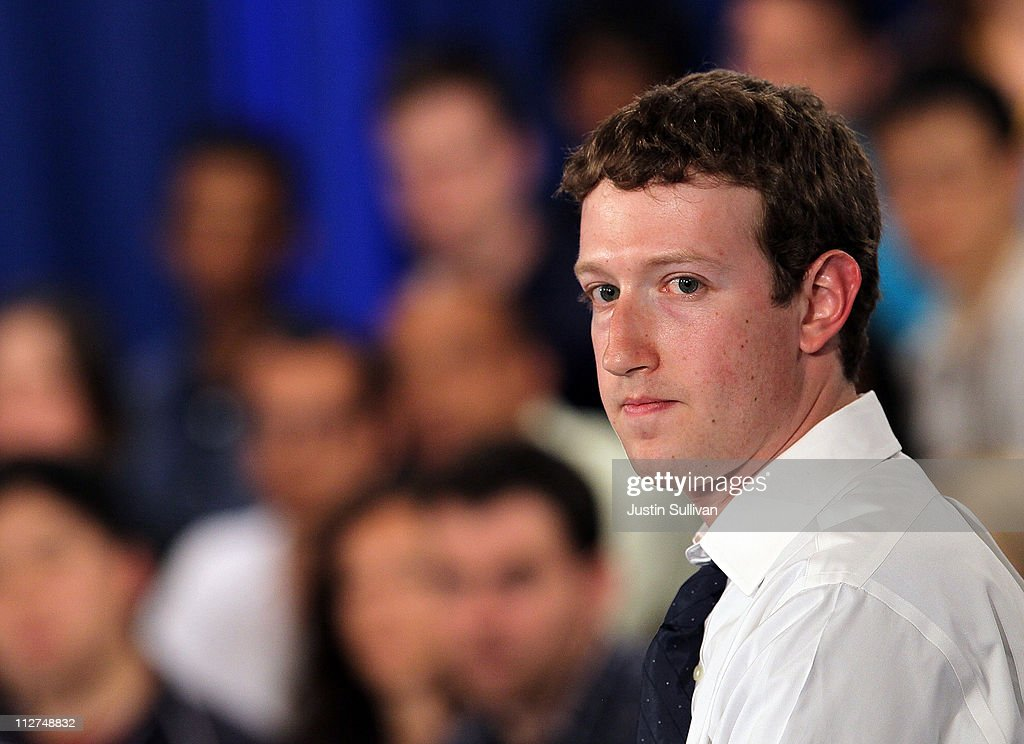 Facebook CEO Mark Zuckerberg looks on during a town hall style meeting with U.S. President Barack Obama at Facebook headquarters on April 20, 2011 in Palo Alto, California. The president used the opportunity to outline his views on the budget deficit ahead of a looming battle with congressional Republicans over fiscal matters.