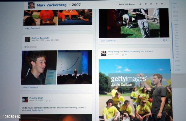 Facebook CEO Mark Zuckerberg shows off the new Timeline as he delivers a keynote address during the Facebook f8 conference on September 22 2011 in...