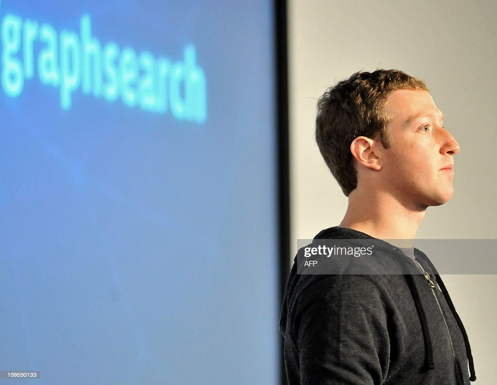 Facebook CEO Mark Zuckerberg speaks at an event at Facebook's headquarters office in Menlo Park, California, on January 15, 2012. Facebook announced the limited beta release of Graph Search, a feature that will create a new way for people to navigate connections and search social networks. AFP PHOTO./Josh Edelson