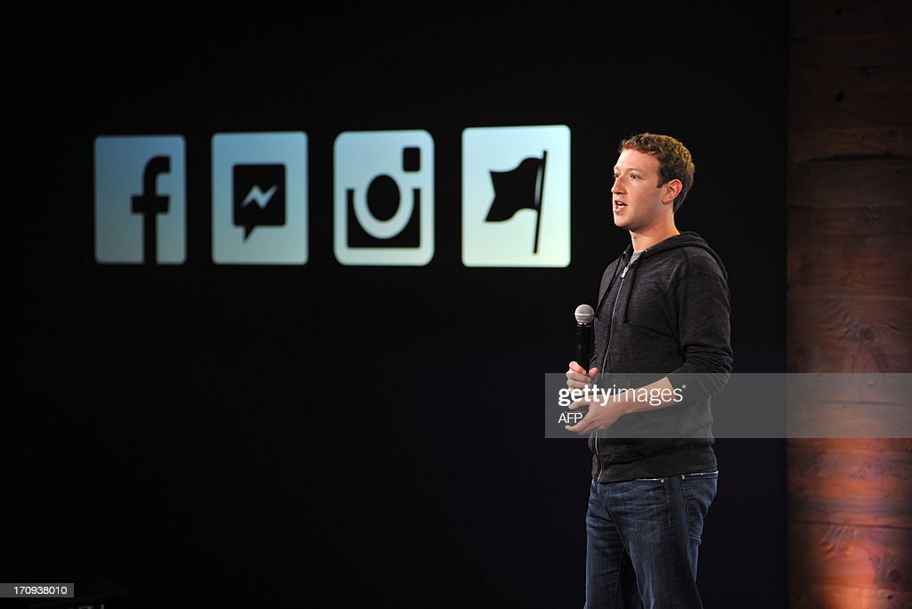 Facebook CEO Mark Zuckerberg speaks at Facebook's corporate headquarters during a media event in Menlo Park, California on June 20, 2013, where Facebook announced the introduction of video for Instagram. AFP Photo /Josh EDELSON
