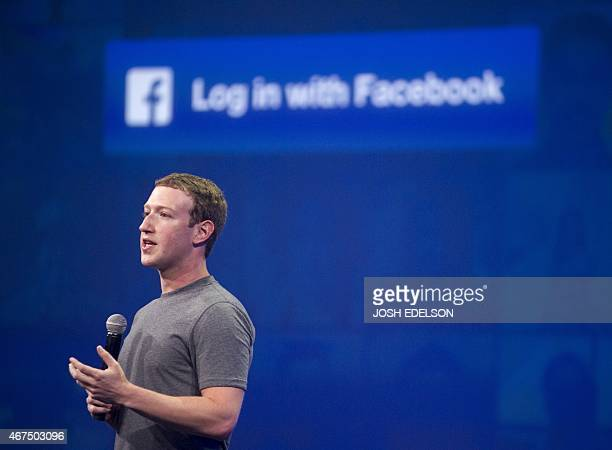 Facebook CEO Mark Zuckerberg speaks at the F8 summit in San Francisco California on March 25 2015 Zuckerberg introduced a new messenger platform at...