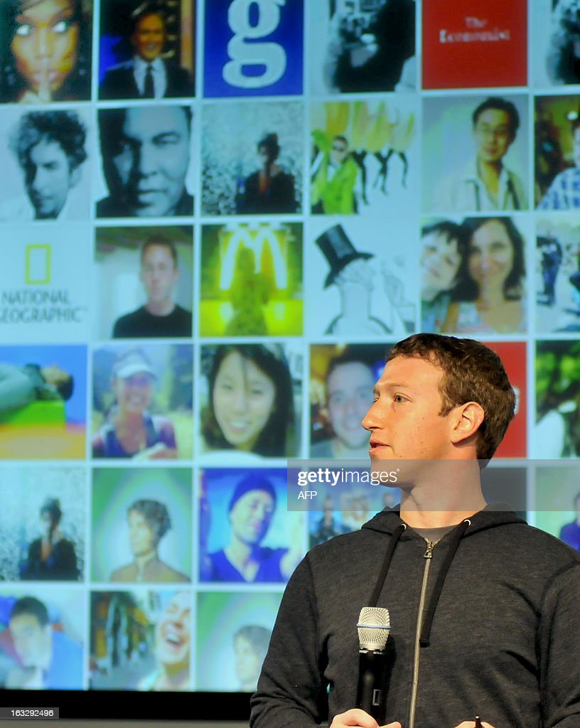 Facebook CEO Mark Zuckerberg speaks during a media event at Facebook's Headquarters office in Menlo Park, California on March 7, 2013. Today, Facebook announced updates to their News Feed. AFP PHOTO /Josh EDELSON