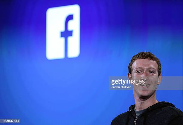 Facebook CEO Mark Zuckerberg speaks during an event at Facebook headquarters on April 4 2013 in Menlo Park California Zuckerberg announced a new...