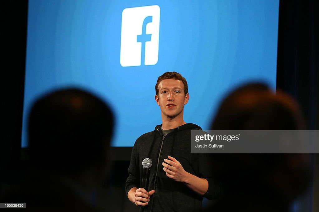 Facebook CEO <a gi-track='captionPersonalityLinkClicked' href=/galleries/search?phrase=Mark+Zuckerberg&family=editorial&specificpeople=4841191 ng-click='$event.stopPropagation()'>Mark Zuckerberg</a> speaks during an event at Facebook headquarters on April 4, 2013 in Menlo Park, California. Zuckerberg announced a new product for Android called Facebook Home.