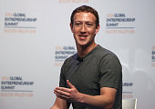 Facebook CEO Mark Zuckerberg speaks on a panel discussion with US president Barack Obama during the 2016 Global Entrepreneurship Summit at Stanford...
