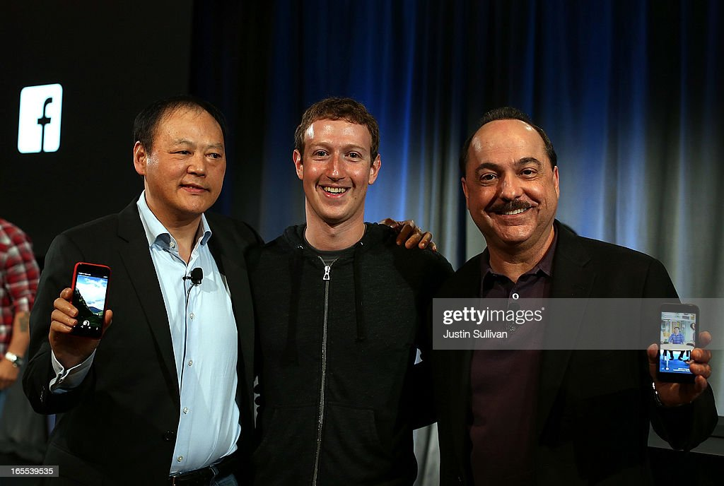Facebook CEO <a gi-track='captionPersonalityLinkClicked' href=/galleries/search?phrase=Mark+Zuckerberg&family=editorial&specificpeople=4841191 ng-click='$event.stopPropagation()'>Mark Zuckerberg</a> (C) stands with HTC CEO Peter Chou (L) and AT&T Mobility President and CEO Ralph de la Vega during an event at Facebook headquarters during an event at Facebook headquarters on April 4, 2013 in Menlo Park, California. Zuckerberg announced a new product for Android called Facebook Home as well as the new HTC First phone that will feature the new software.