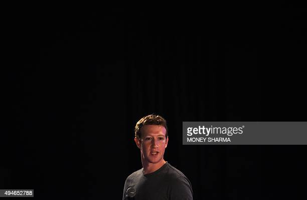 Facebook chief executive and founder Mark Zuckerberg speaks during a 'townhall' meeting at the Indian Institute of Technology in New Delhi on October...